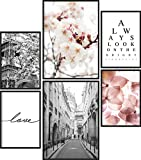 Poster Set Frühling | 6 Bilder als stilvolle Wanddeko | 2X DIN A4 und 4X DIN A5 | Blumen Paris...