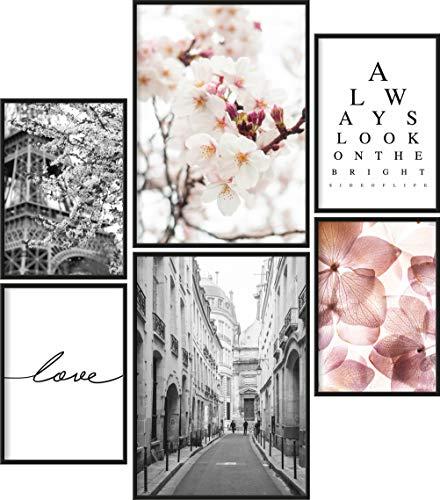 Papierschmiede® Mood-Poster Set Frühling | Bilder als Wanddeko | Wohnzimmer & Schlafzimmer | 2X DIN A4 und 4X DIN A5 | Blumen Paris Vintage Rosa - ohne Rahmen