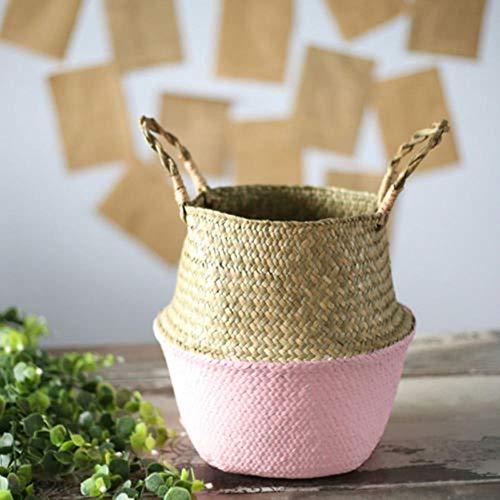 JUECAN Bamboe Opbergmandjes Opvouwbare Wasserij Rieten Patchwork Rotan Zeegras Buik Tuin Bloem Pot Planter Mand roze