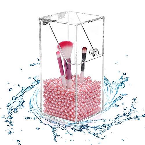 Teabelle Organizador de Cepillos brochas de Maquillaje acrílico Transparente a Prueba de Polvo para cosméticos y Pinceles de acrílico (Incluye 1000Pcs Perlas Rosas)