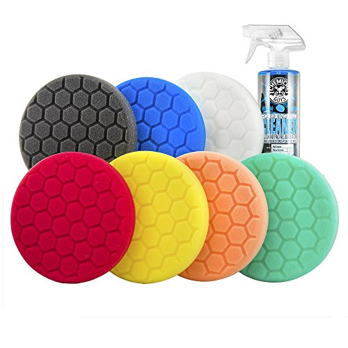 """Chemical Guys BUF_HEXKITS_8 Hex-Logic Buffing Pad Kit, 6.5"""", 8 Items"""