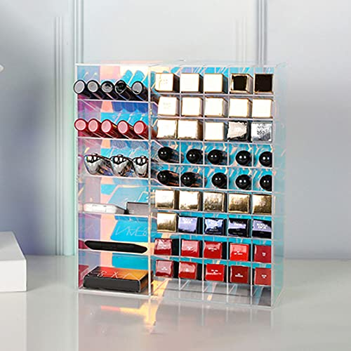 Guoz Organizador Maquillaje,Organizador pintalabios,Caja de lápiz Labial acrílico con Gran Capacidad,diseño Tridimensional,Almacenamiento Conveniente,Espejo acrílico,Organizador labiales