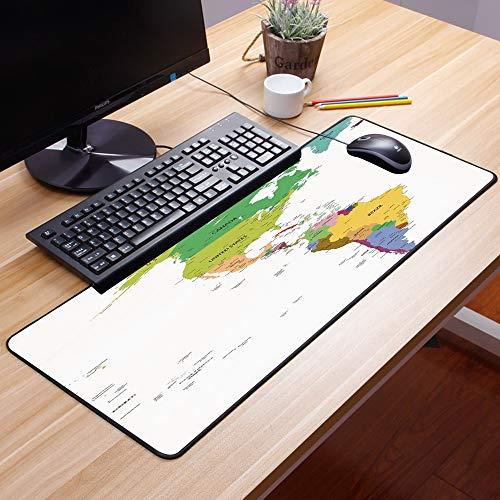 Comfortable Mouse Pad 60x35 cm,Mapa, Mapa de América del Sur y del Norte con Países Capitales,Impermeable con Base de Goma Antideslizante,Special-Textured Superficie para Gamers Ordenador, PC y Laptop