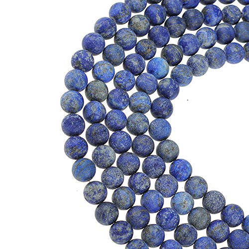 ILVBD Natural Round Gemstone Smooth Matte Loose Beads 4/6/8/10/12MM for DIY Bracelet Jewelry Making 15 inch One Strand (Lapis Lazuli, 8MM)