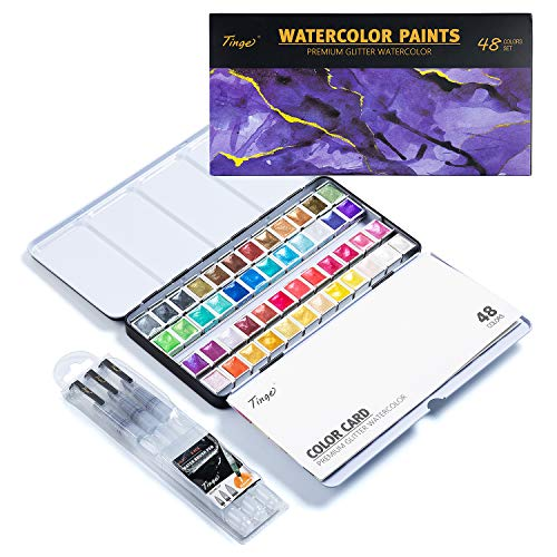 Tinge Artist Glitter Watercolor Paints, Half Pan 48 Colors, Set with 3 Water Brush Pens, Professional Metallic Solid Water Color, Black Metal Case with Palette for Artists, Students and Painting Beginners