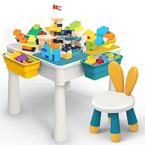 5-in-1 Multi Kids Activity Table Set with 1 Chair 228 Pcs Building Blocks and Slides Water Table Sand Table Dining Table Study Table Storage Table Building Blocks Table with 4 Storage Boxes (Blue)