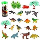 Herefun 25 Pcs Dinosaure Éducatif Jouets, Mini Dinosaures Modèle Ensemble avec Seau de Stockage, Enfants Dinosaures Figurines pour Garçons Filles Cadeaux, Fête d'anniversaire Décoration