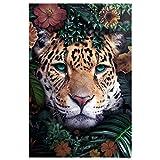 reinders Leopard Umgeben von Blumen Poster - Papier - 61 x