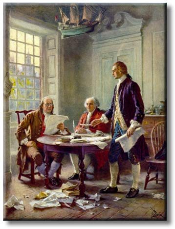 Writing The Declaration of Independence Picture on Stretched Canvas Wall Art Décor, Ready to Hang! (16' x 20')