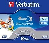 Verbatim 50Gb BD-R DL/Caja De Joya 1-6X (10 Disc) BLU-Ray, De Doble Capa, Imprimible por Chorro De Tinta, Blanco Tamaño Completa