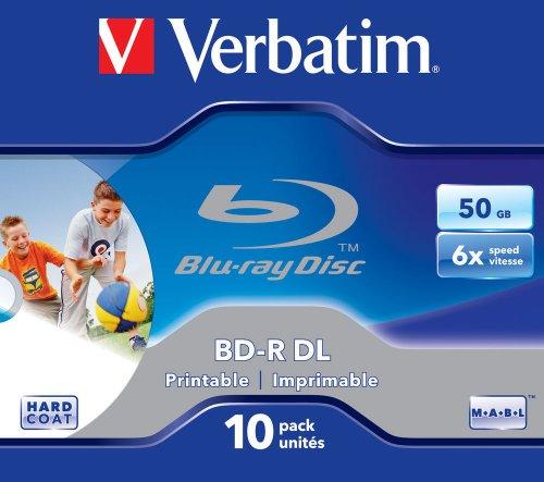 VERBATIM BD-R Dual Layer Blu-ray Rohlinge 50 GB I Blu-ray-Disc mit 6-facher Schreibgeschwindigkeit I mit Kratzschutz I 10er-Pack Jewel Case I Blu-ray-Disks für Video- und Audiodateien