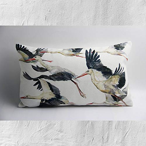 Federa per cuscino lombare per mamma e papà, motivo: gru volanti ad acquerello – Federa decorativa per cuscino rettangolare, 50,8 x 30,5 cm, 50 x 30,5 cm, idea regalo per l'inaugurazione della casa