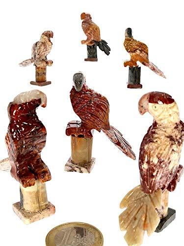 Speckstein Deko Schmuck Edelstein - Halbedelstein Figur Papagei Vogel