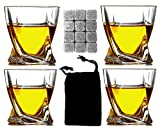 Whiskey Glass Set of 4 includes a 12 Whiskey Stones Gift Set - Double Old Fashioned Glass - Bourbon Glasses, Scotch Glasses, Rocks Glass, Brandy Glass, Cognac Glass - Snifters - Tumbler - Whiskey Set