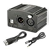 NUOSIYA - Fuente de alimentación Phantom de 48 V con cable USB de 1,5 m y interfaz tipo C, adaptador XLR para cualquier micrófono condensador equipo de grabación de música, negro