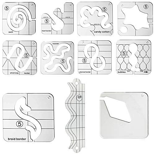 YICBOR 11pcs Free Motion Quilting Template Series 5 for Domestic Sewing Machine (11pcs Ruler Set)