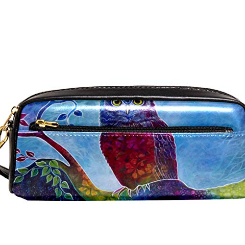 AITAI PU Leather Pencil Case Art Night owl Painting Zipper Pen Pouch for School, Work & Office