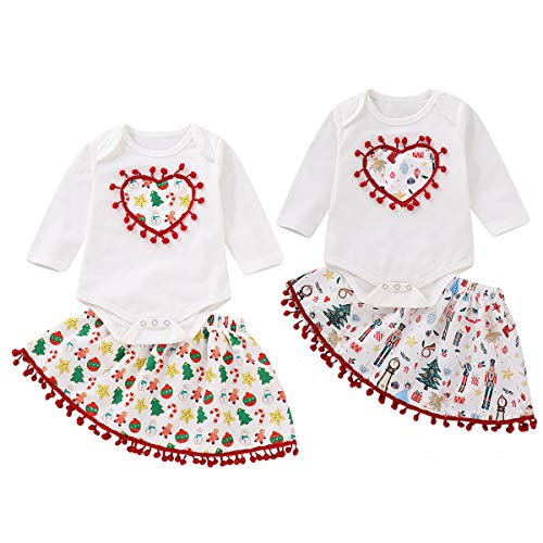 Haokaini 2Pcs Baby Girls Christmas Outfit Clothes Set Long Sleeve Romper Skirt for Infant