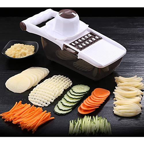 Slicer- gerat zum gemuse in scheiben schneiden mit Lebensmittelbehälter, Austauschbare Klingen mit Gemüsehobel aus Edelstahl, für Alle Gemüse