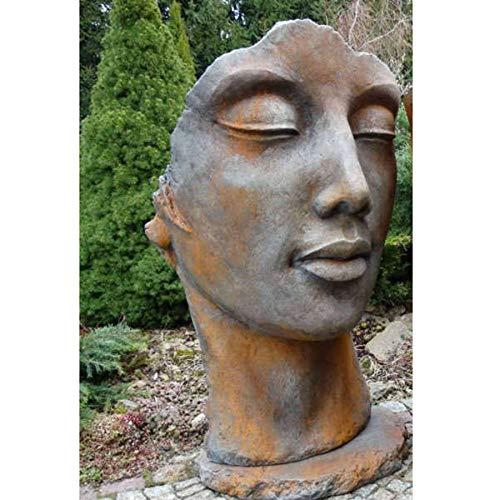 Vidroflor Gartenfigur | Gesicht Frau | inkl. Platte zur Montage | Rosteffekt | B/H/T: 67/115/56 cm | 145 kg | Steinguss