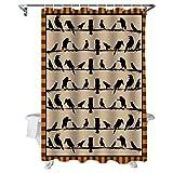 N\A Birds Crow Owl on Line Cortinas de Ducha de baño para decoración de baño Retro Halloween Tela de poliéster Naranja Juego de Cortina de baño Impermeable con Ganchos