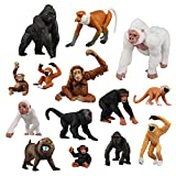 TOYMANY 14PCS Various Monkeys & Gorillas Figurines Playset, Plastic Jungle Animals Monkey Toy Set Included Chimpanzee Mandrill Gibbons, Cake Toppers Christmas Birthday Gift for Kids Todllers