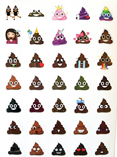 Lifetime Inc Poop Emoji Sticker Sheet Party Party 24 Paquete (840 Stickers), Poo Set.Potty Training, Journal, Favors, Office, Teachers, Scrapbooking