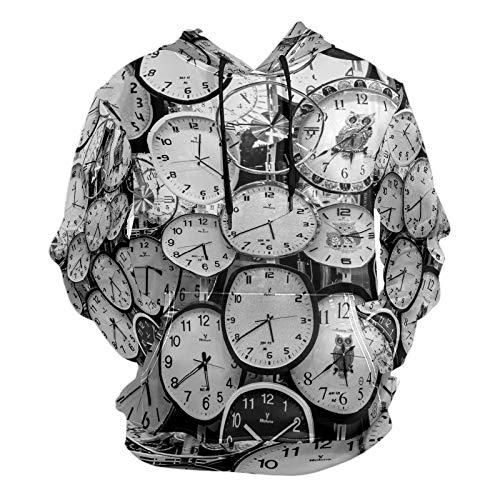 Moda 3D impresión monocromática reloj patrón unisex suéter fresco sudaderas con bolsillo canguro para hombres y mujeres