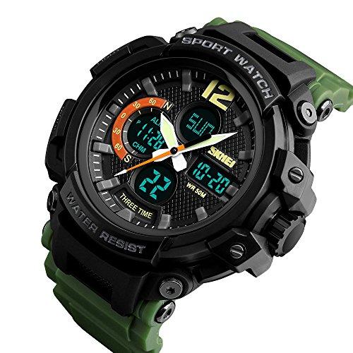 YK WATCH Orologio elettronico di Sport alla Moda Orologio da Uomo a Tre Tempi Impermeabile Luminoso di fonte di Commercio Estero,Green
