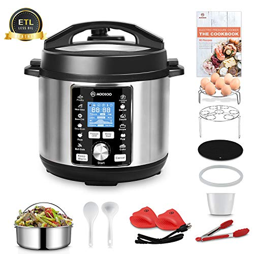 MOOSOO 13-in-1 Electric Pressure Cooker, 6QT Instant One-Touch Pressure Pot, Stain-Resistant Pressure Cooker with Digital Touchscreen, Slow Cooker, Steamer, Saute, Yogurt Maker, Egg Cooker, with ETL Certified, 11+ Accessories and Recipes