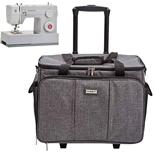 HOMEST Deluxe Sewing Machine Case on Wheels, Rolling Trolley Tote with Shoulder Strap and Strong...