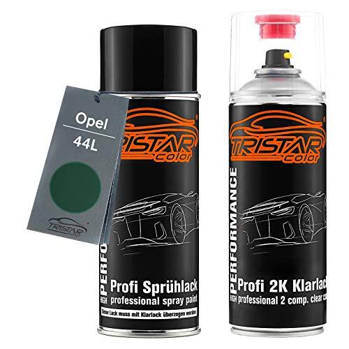 TRISTARcolor Autolack 2K Spraydosen Set für Opel 44L Forstgrün/Forest Green Basislack 2 Komponenten Klarlack Sprühdose