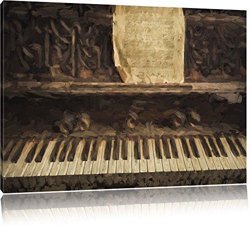 Piano met bladmuziekFoto Canvas | Maat: 120x80 cm | Wanddecoraties | Kunstdruk | Volledig gemonteerd