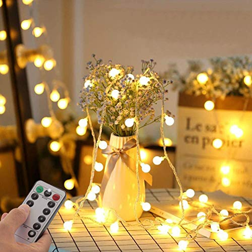 Fairy String Lights Plug in, 33 FT 100 LED Globe Ball String Lights 8 Lighting Modes with Remote Control for Bedroom Indoor Outdoor Garden, Patio, Christmas, Party, Wedding Decorations Warm White