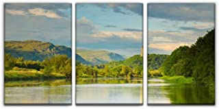 Gracelapin Canvas Wall Art Decor, River Forth, Stirling Looking Towards The wallace's Monument Printed Oil Painting Home Decoration- 3 Panels