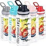 32oz Fruit Infuser Water Bottle, Large Motivational Water Bottle with Time Marker, Leak