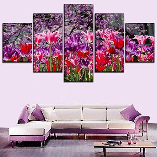 rkmaster-Canvas HD-prints Home Wand Art Deco fotolijst 5 tulp bloemenschilderij woonkamer abstracte poster | schilderij