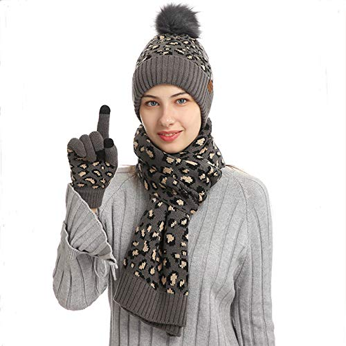 WuLi77 Women Winter Leopard Plush Lined Beanie Hat Scarf Gloves Set for Outdoor Cycling Running
