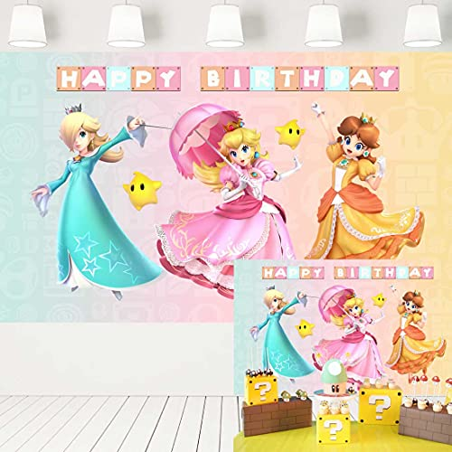 Super Mario Birthday Party Supplies for Girl Princess Peach Daisy and Rosalina Backdrop Video Game Background Cake Table Banner 352