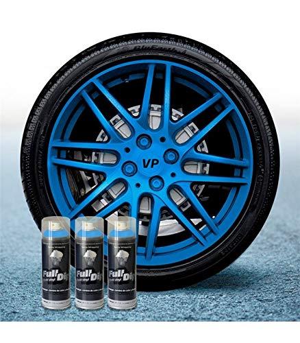 AutoFullCar Pack 3 Sprays Full Dip Azul Metalizado