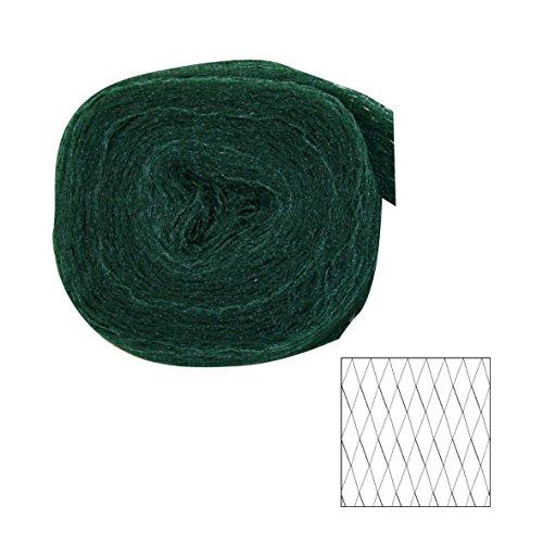 Xclou Vogelschutznetz ca. 8 x 8 m, besonders robustes Pflanzenschutznetz aus Polyethylen, Gartennetz mit 20 x 20 mm Maschenweite, grün-schwarz