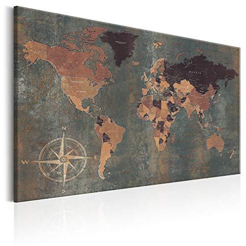 decomonkey Bilder Weltkarte 90x60 cm 1 Teilig Leinwandbilder Bild auf Leinwand Wandbild Kunstdruck...