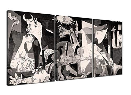 Canvashop Quadri Moderni Picasso cm 218x100 la Guernica Quadro 3 pezzi Stampa su tela canvas soggiorno XXL