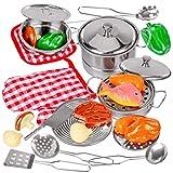 Kinderplay Kochgeschirr aus Metall, inkl. Topfhandschuh und Küchenhelfer - für Spielküchen, ab 3 Jahre, Kochset für Kinder 23 Teile, KP1706