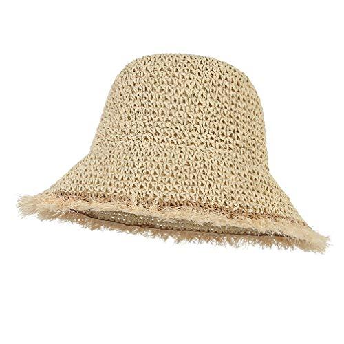 GEMVIE Women Straw Bucket Hat Foldable Wide Brim Beach Cap Crochet Straw Sun Hat UPF 50+ Beige