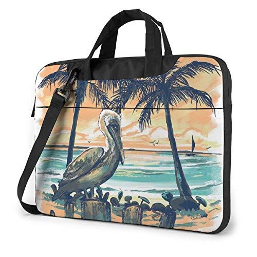 Neoprene Laptop Sleeve Case, Pelican Sunset Portable Laptop Bag Business Laptop Shoulder Messenger Bag Protective Bag 13 Inch
