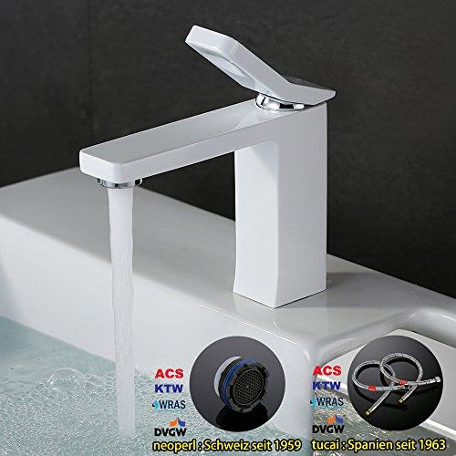 Homelody – Design-Waschbeckenarmatur, Einhebelmischer, ohne Ablaufgarnitur, Weiß - 6