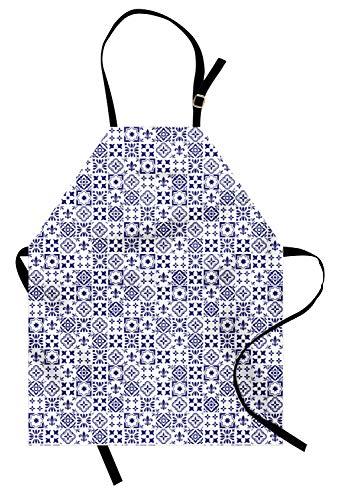 ABAKUHAUS Índigo Delantal de Cocina, Azulejo Cuadrado Modelo Abstracto, Resiste Suciedad y Humedad para Uso en Exteriores, Indigo Blanca