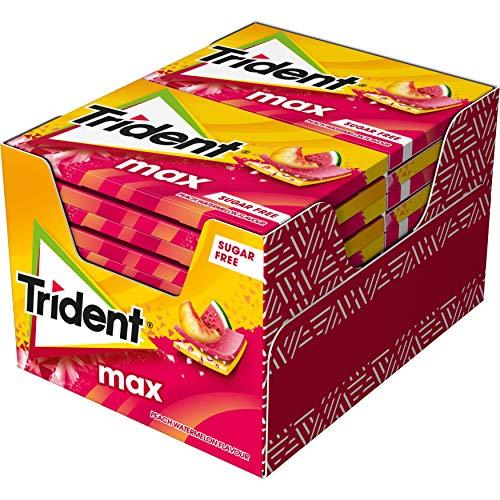 Trident Max Melocotón y Sandía - Chicles sin Azúcar con Sabor a Melocotón y Sandía- Paquete de 12 Envases de 23 g
