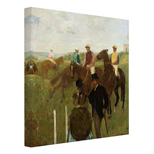 Bilderwelten Cuadro en Lienzo - Edgar Degas - Jockeys at The Racecourse - Cuadrado 1:1, Cuadros Cuadro Lienzo Cuadro de Lienzo Cuadro sobre Lienzo Cuadro Decoracion, Tamaño: 120 x 120cm